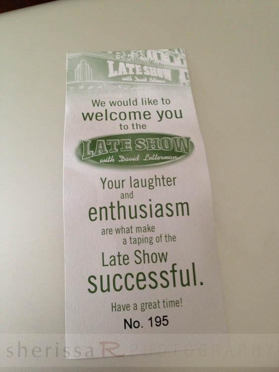My David Letterman show ticket